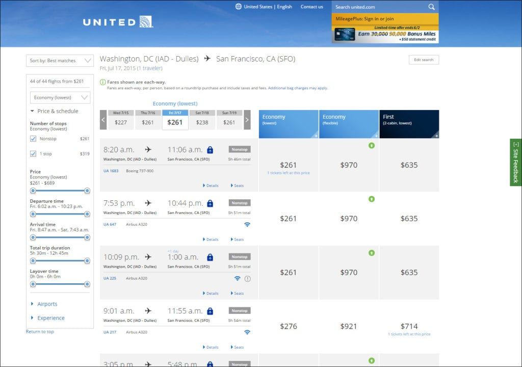 United Airlines Expedia news - UAL search results page