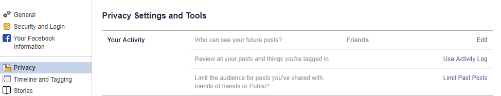 facebook privacy limit future posts settings