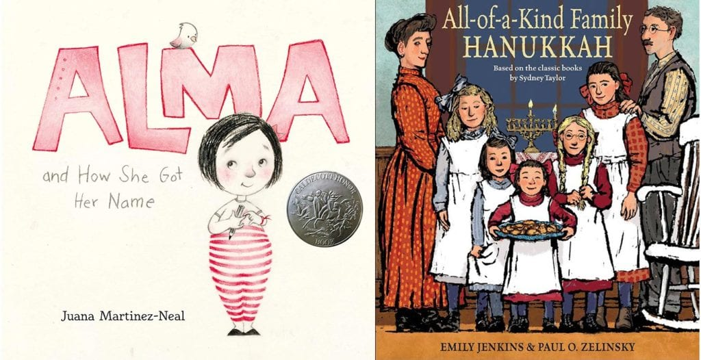 Photo: Amazon  Alma and How She Got Her Name by Juana Martinez-Neal   All-of-a-Kind Family Hanukkah by Emily Jenkins