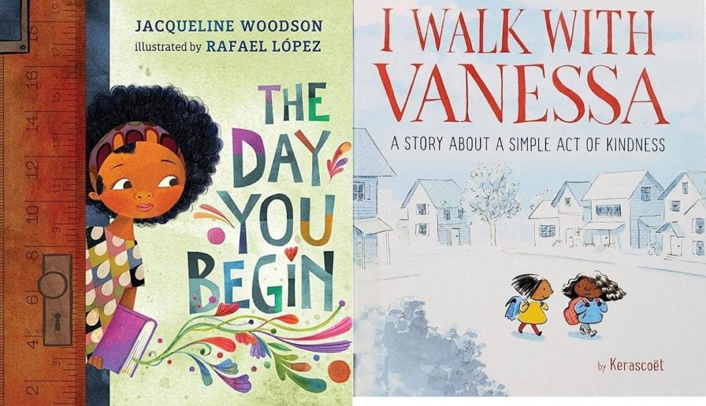 Photo: Amazon  The Day You Begin by Jacqueline Woodson  I Walk with Vanessa: A Story about a Simple Act of Kindness by Kerascoët