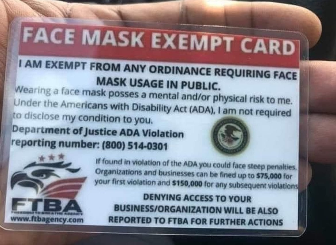 face mask exemption card fake