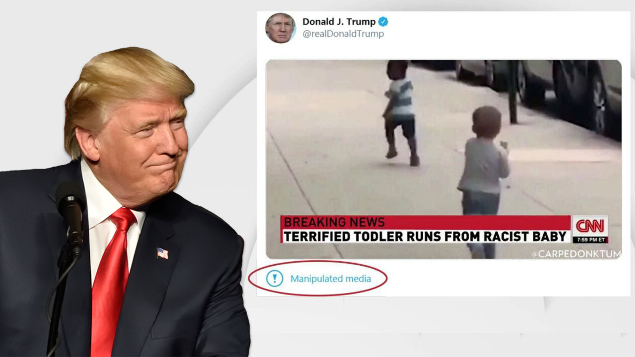 Twitter, Facebook remove Trump's edited 'CNN' video with 'racist baby'